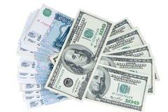 Uitwisseling van muntroebels en dollars Royalty-vrije Stock Foto