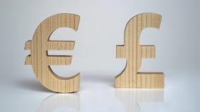 Uitwisselingsclassificatie De Euro van het muntteken, Pond Stock Foto's