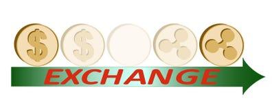 Uitwisselingsdollar om muntstuk, ontwerpconcept te golven royalty-vrije illustratie