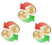 Uitwisselingsrimpeling aan dollar, euro en Britse pond royalty-vrije illustratie