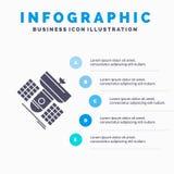 Uitzending, het uitzenden, mededeling, satelliet, het Malplaatje van telecommunicatieinfographics voor Website en Presentatie gly vector illustratie