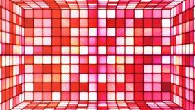 Uitzendings Fonkelende Hi-Tech Kubussenzaal, Rood, Samenvatting, Loopable, 4K stock videobeelden