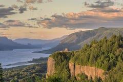 Uitzichthuis en de Kloof bij zonsondergang Oregon Stock Foto's