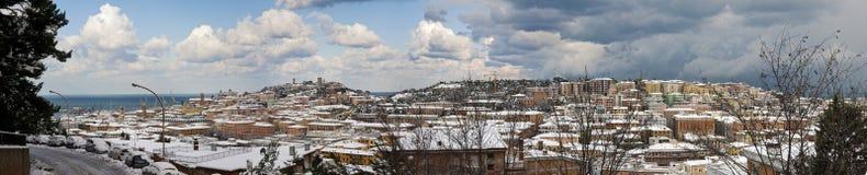 Uitzonderlijke sneeuwval in Ancona Stock Afbeeldingen