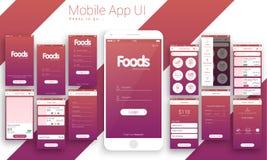 UI、UX和GUI网上食物交付的流动App 免版税库存照片