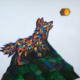 Uivos geométricos do lobo na lua angular Fotografia de Stock