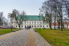 Ujazdow Castle in autumn in Warsaw. Poland. Warsaw, Poland - November 11, 2018: Ujazdow Castle in autumn in Warsaw royalty free stock photo