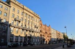 Ujazdowski大道在华沙(波兰) 库存图片
