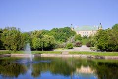 Ujazdowski Castle. Park in front of the Ujazdowski Castle in Warsaw, Poland stock images