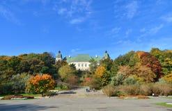 Ujazdowski Castle fall season. Ujazdowski Castle in Warsaw. Fall season. South facade with stairs stock photography