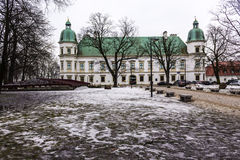Ujazdowski Castle in late winter. City of Warsaw, Poland. The baroque style of the western facade stock photo