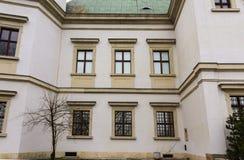 Ujazdowski Castle in late winter. City of Warsaw, Poland. Details of the facade.Windows stock photos