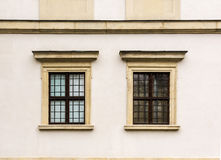 Ujazdowski Castle in late winter. City of Warsaw, Poland. Details of the facade.Windows royalty free stock photo