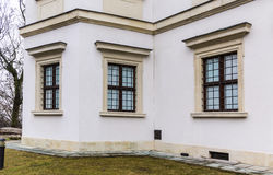 Ujazdowski Castle in late winter. City of Warsaw, Poland. Details of the facade.Windows royalty free stock images