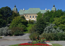 Ujazdowski Castle. Museum in Warsaw. Summer wide angle panoramic view royalty free stock images