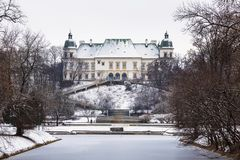 Ujazdowski Palace in Lazienki park at winter in Warsaw. Poland royalty free stock photos