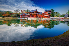 Uji, Kyoto, Japan - famous Byodo-in Buddhist temple. Uji, Kyoto, Japan - famous Byodo-in Buddhist temple, a UNESCO World Heritage Site. Phoenix Hall building Stock Photos