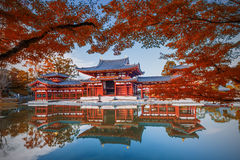 Uji, Kyoto, Japan - Famous Byodo-in Buddhist Temple, A UNESCO World Heritage Site. Phoenix Hall Building. Royalty Free Stock Image