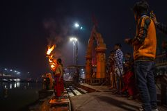 Ujjain, India - December 7, 2017:  People attending religious ceremony on holy river at Ujjain, India, sacred town for Hindu relig Stock Photo