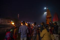 Ujjain, India - December 7, 2017:  People attending religious ceremony on holy river at Ujjain, India, sacred town for Hindu relig Royalty Free Stock Photography