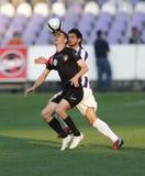 Ujpest对Honved OTP银行同盟足球比赛 库存图片