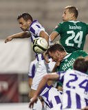 Ujpest contra partido de liga del banco de Gyori ETO OTP Imágenes de archivo libres de regalías