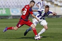 Ujpest - de voetbalwedstrijd van de de Bankliga van Videoton OTP Stock Afbeelding
