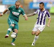 Ujpest versus de voetbalwedstrijd van de de Bankliga van Gyori ETO OTP Royalty-vrije Stock Foto's
