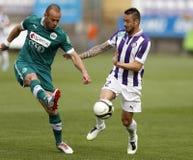 Ujpest versus de voetbalwedstrijd van de de Bankliga van Gyori ETO OTP Royalty-vrije Stock Afbeeldingen