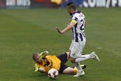 Ujpest versus DVTK-voetbalwedstrijd stock afbeelding