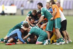Ujpest vs. fotbollsmatch för Gyori ETO OTP bankliga Royaltyfria Bilder