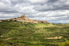 Ujue Navarre Spain. View on the town Ujue and it`s 12th century fortified church in Navarre, Spain Royalty Free Stock Image