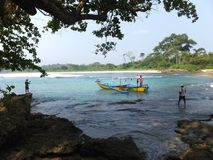 Ujung Genteng Beach, the hidden paradise in West Java. Ujung genteng beach is wellknown of its tranquality and undisturbed beaches located in Sukabumi, West Java Stock Images
