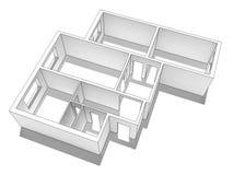 Układ mieszkanie pojedynczy białe tło Obraz Royalty Free