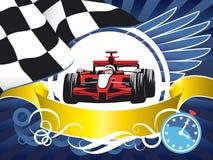 Układ na sporta temacie, samochód wyścigowy, Karta, rywalizacja, mistrzostwo, zwycięzca Zdjęcia Royalty Free