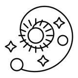 Układ Słoneczny cienka kreskowa ikona Astronomii wektorowa ilustracja odizolowywająca na bielu Ruszać się po spirali z, gra główn ilustracji