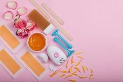Układ wosk, wosków zespoły, wosk rolkowa kaseta, epilator i rozporządzalna żyletka, Obrazy Royalty Free