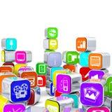 Układająca i Brogująca 3D Alu Multimedialna ikona Boksuje ilustracja wektor