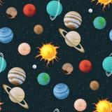 Układu Słonecznego wektorowy bezszwowy wzór planety w astronautycznej wszechrzeczej teksturze Obraz Stock