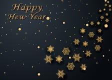 Układu Szczęśliwego nowego roku złota, czarna kolor przestrzeń dla i, Złoty bokeh, światło i faborki, Vect Obraz Stock