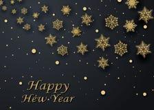 Układu Szczęśliwego nowego roku złota, czarna kolor przestrzeń dla i, Złoty bokeh, światło i faborki, Vect Fotografia Stock