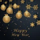 Układu Szczęśliwego nowego roku złota, czarna kolor przestrzeń dla i, Złoty bokeh, światło i faborki, Vect Fotografia Royalty Free