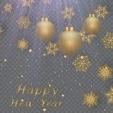 Układu Szczęśliwego nowego roku złota, czarna kolor przestrzeń dla i, Złoty bokeh, światło i faborki, Vect Zdjęcie Stock