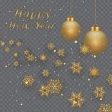 Układu Szczęśliwego nowego roku złota, czarna kolor przestrzeń dla i, Złoty bokeh, światło i faborki, Vect Obrazy Stock