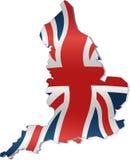 Uk-översikt med den brittiska flaggan Arkivfoton
