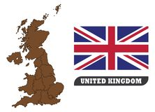 UK-översikt och flagga Översikt av Förenade kungariket och flagga av Förenade kungariket stock illustrationer