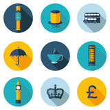 UK, εικονίδια με το διανυσματικό σχήμα Στοκ εικόνες με δικαίωμα ελεύθερης χρήσης