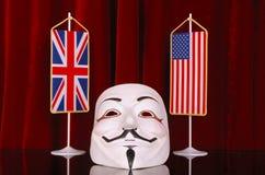 UK και ΗΠΑ ανώνυμα Στοκ φωτογραφία με δικαίωμα ελεύθερης χρήσης