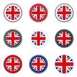 UK της απεικόνισης ετικετών κουμπιών της Μεγάλης Βρετανίας Στοκ Φωτογραφίες