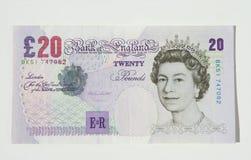 λίβρα είκοσι UK σημειώσεων νομίσματος Στοκ εικόνα με δικαίωμα ελεύθερης χρήσης